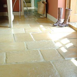 Cotswold (riven, varied oatmeal / honey colour) flagstones; click to view