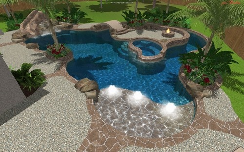 Cypress Custom Pools Design Freeform Tropical Pool