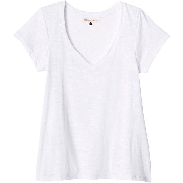 Rebecca Taylor Burnout V-Neck Tee ($68) ❤ liked on Polyvore featuring tops, t-shirts, shirts, tees, white, v-neck shirt, t shirt, burn out t shirt, white tops and burnout t shirt