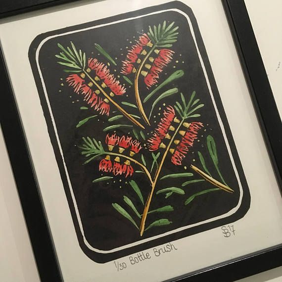 Lino Print  Callistemon / Bottle Brush  Hand coloured or