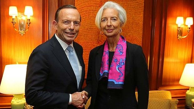 Prime Minister Tony Abbott meeting IMF managing director Christine Lagarde in Washington DC