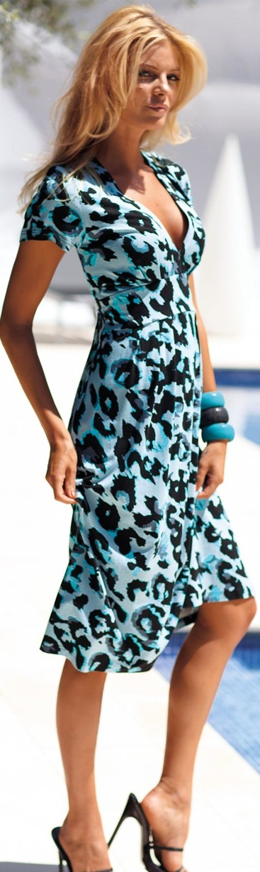 Lovely blue print dress, Madeleine. beautiful blue leopard ♥ I bet you wish you could wear this - Enjoy with love from http://www.shop.embiotechsolutions.co.uk/AquaFresh-EM-Ceramics-Water-Butt-Treatment-250g-AquaFresh250.htm