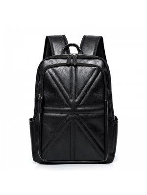 Stitching Quilted PU Leather Backpack - Black