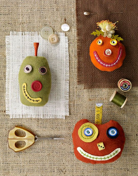 Silly Pumpkin Pincushions : adapt to little stuffies and let the kids decorate in their own fun ways! from all people quilt