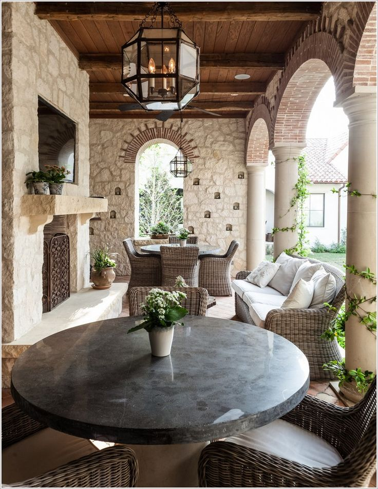 Patio-Mediterranean-arch-archway-brick-arch-column-covered- - 17 Best Ideas About Mediterranean Fireplace Screens On Pinterest