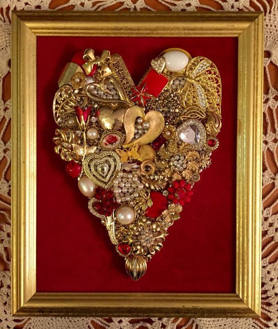 Beautiful Vintage Jewelry Framed Art Heart Picture Valentine Gift Heirloom