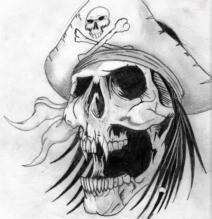 Grey Ink Design Pirate Skull Tattoo Design
