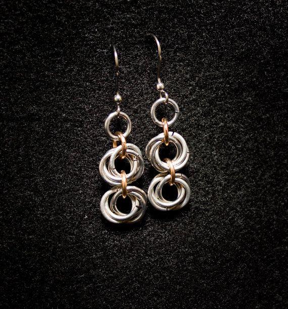 Twotone Rosette Earrings  Aluminum/Bronze by HowlOwl on Etsy.