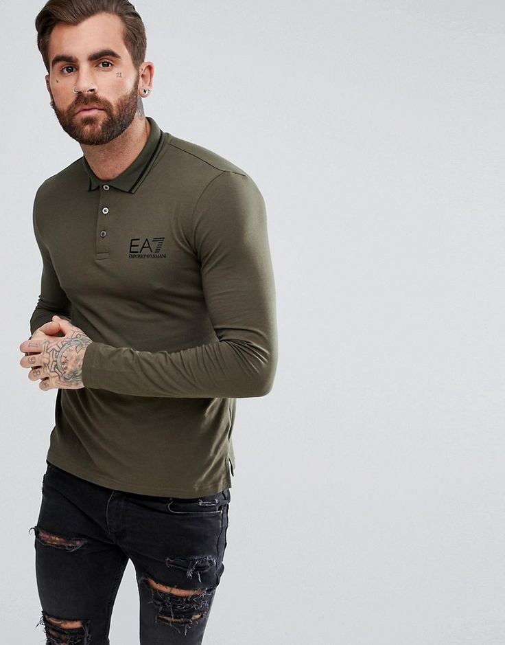 Get this EA7's polo shirt now! Click for more details. Worldwide shipping. EA7 Logo Tipped Stretch Long Sleeve Polo Shirt In Khaki - Green: Polo shirt by EA7, Added stretch for comfort, Polo collar, Button placket, Long sleeves, Logo print to chest, It's all in the details, Regular fit - true to size. Launched in 2004 as an offshoot of Emporio Armani, EA7 takes the best from functional clothing and combines it with street style in its relaxed staples. Prioritising natural fibres, lightweight…