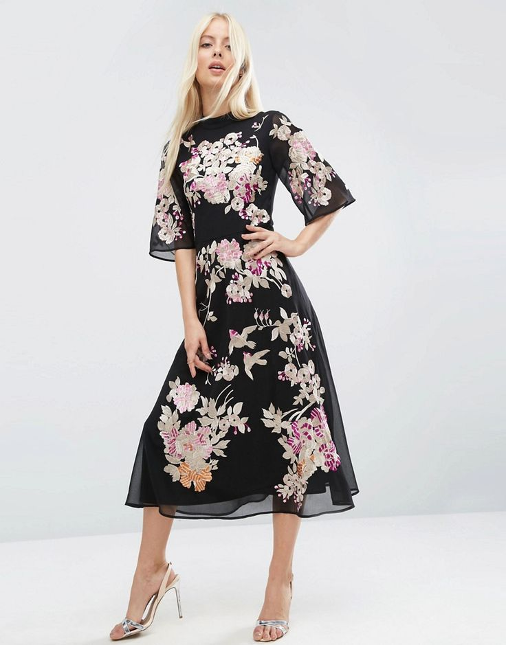 Image 1 of ASOS PREMIUM Chinoiserie Embroidered Midi Dress