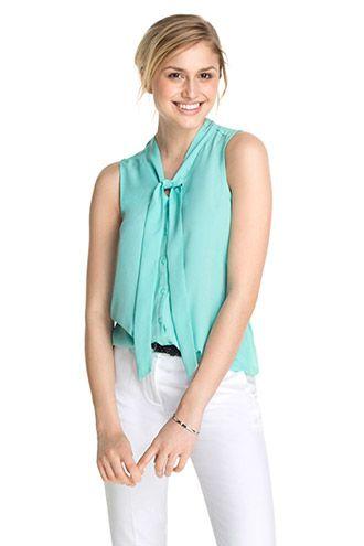 Esprit SS15 / Mouwloze blouse met striklint, materiaalmix