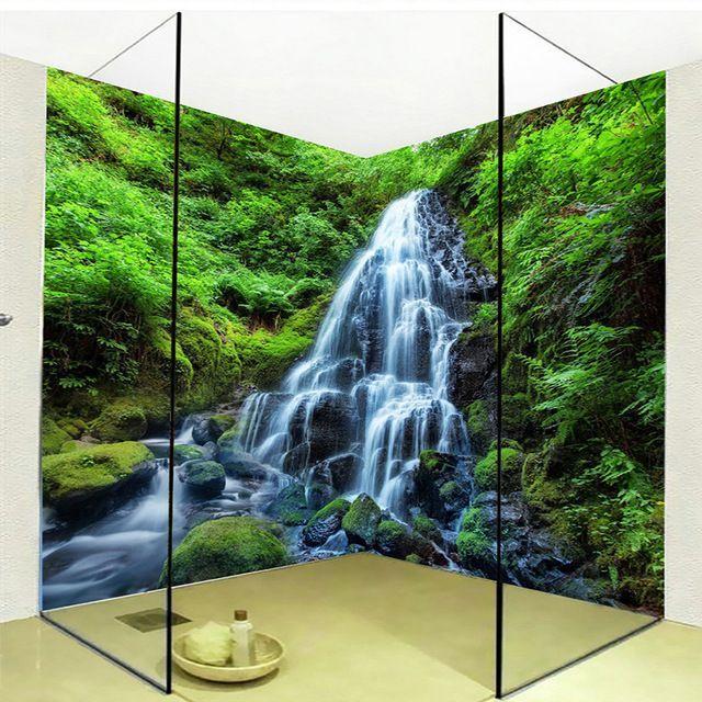 3d Wallpaper Wasserfalle Wald Natur Landschaft Foto Wandaufkleber Wandbild Pvc Selbstklebende Wasserdichte Ba Tapeten Wandbilder Badezimmer Tapete Bad Wandbild
