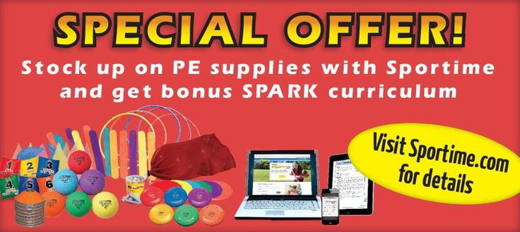 Stock up on $500+ of Sportime physed equipment and receive a SPARK digital curriculum set as a value-added bonus! #physed