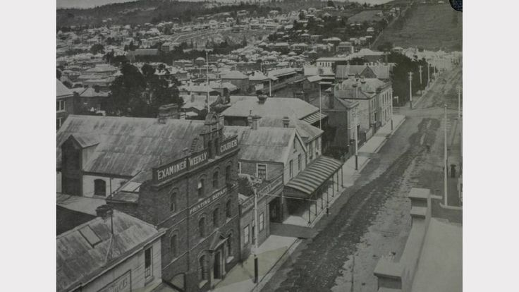 Paterson St,Launceston in Tasmania with Cataract Hill in the background in 1906.