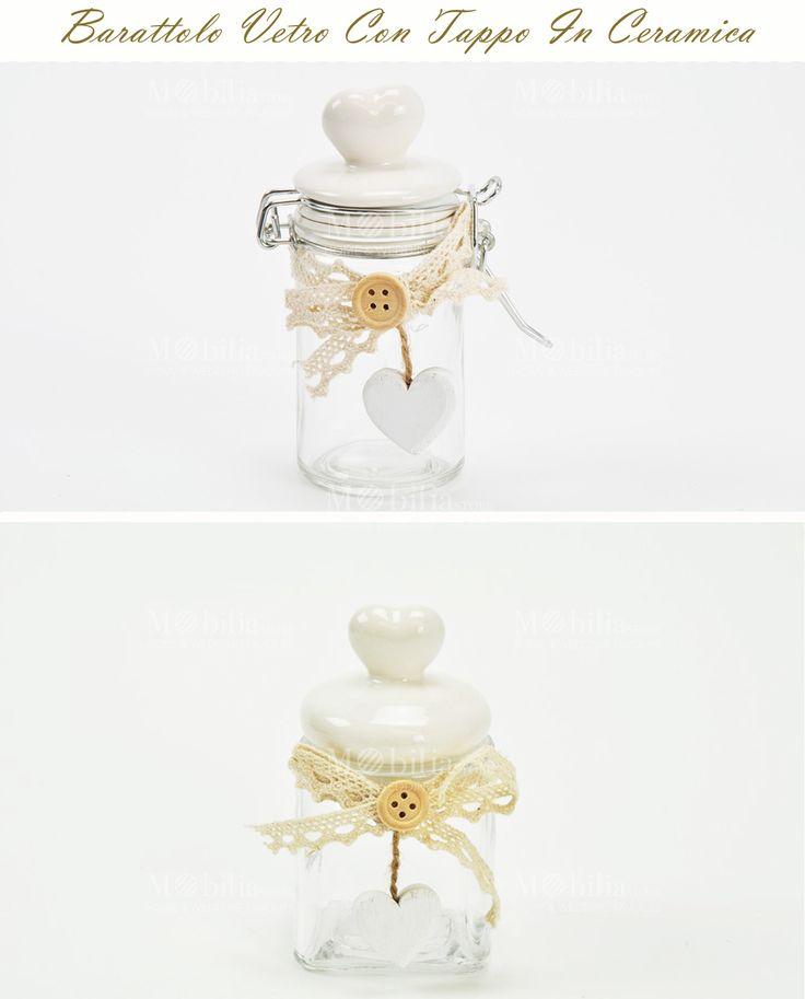 Barattoli Ermetici Con Cuore Ceramica, completo di bottone, fiocco e grazioso pendente a cuore. Scopri le promo su Mobilia Store