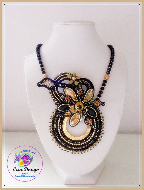 Soutache necklace pendant winter black and gold by CiraDesign