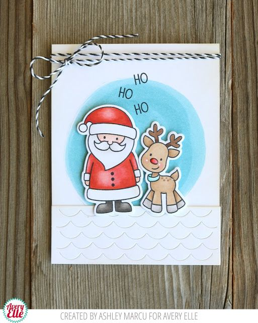 Ashley Marcu for Avery Elle Supplies North Pole Pals Clear Stamps North Pol Pals Dies Happy Home Dies Midnight Hemp Twine