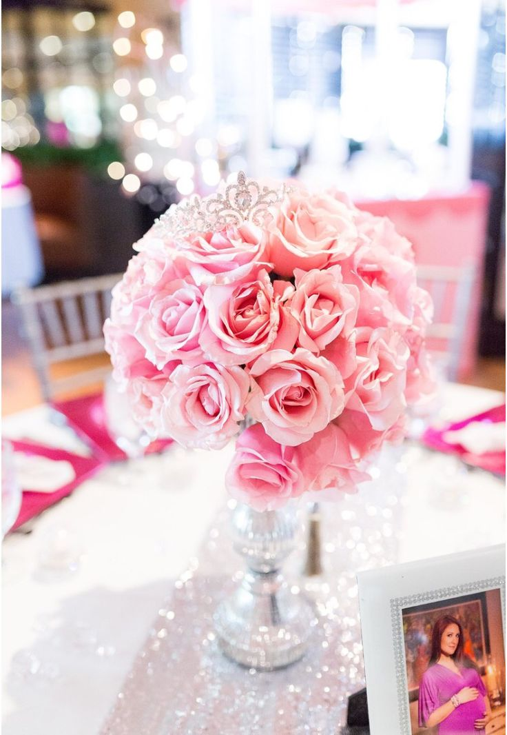 Pink, Diamonds And Pearls Baby Shower... Flower Arragements By  Cousinsu0026Sister