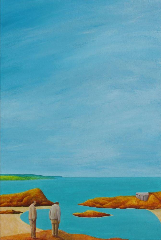 Pillbox Overseer 76 x 51 cm #pillbox #menstanding #coast #paintings #art #contemporarypaintings #newzealand