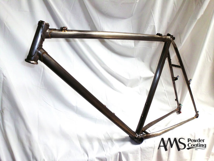 clear coated steel mountain bike frame