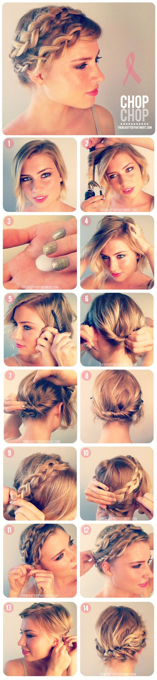 Believe it or not, this braided look works for even chopped hair.