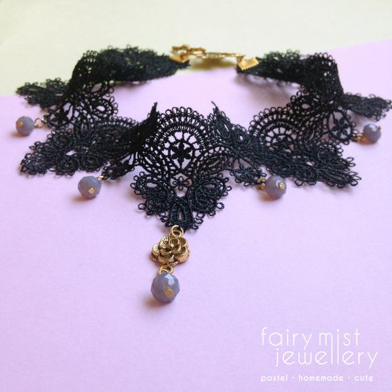 Black Lace Choker Ornamental Shaped With by fairymistjewellery