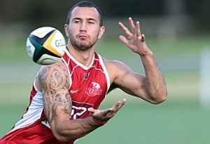 Queensland Reds Quaid Cooper readies to run of for the Wallabies at Eden Park