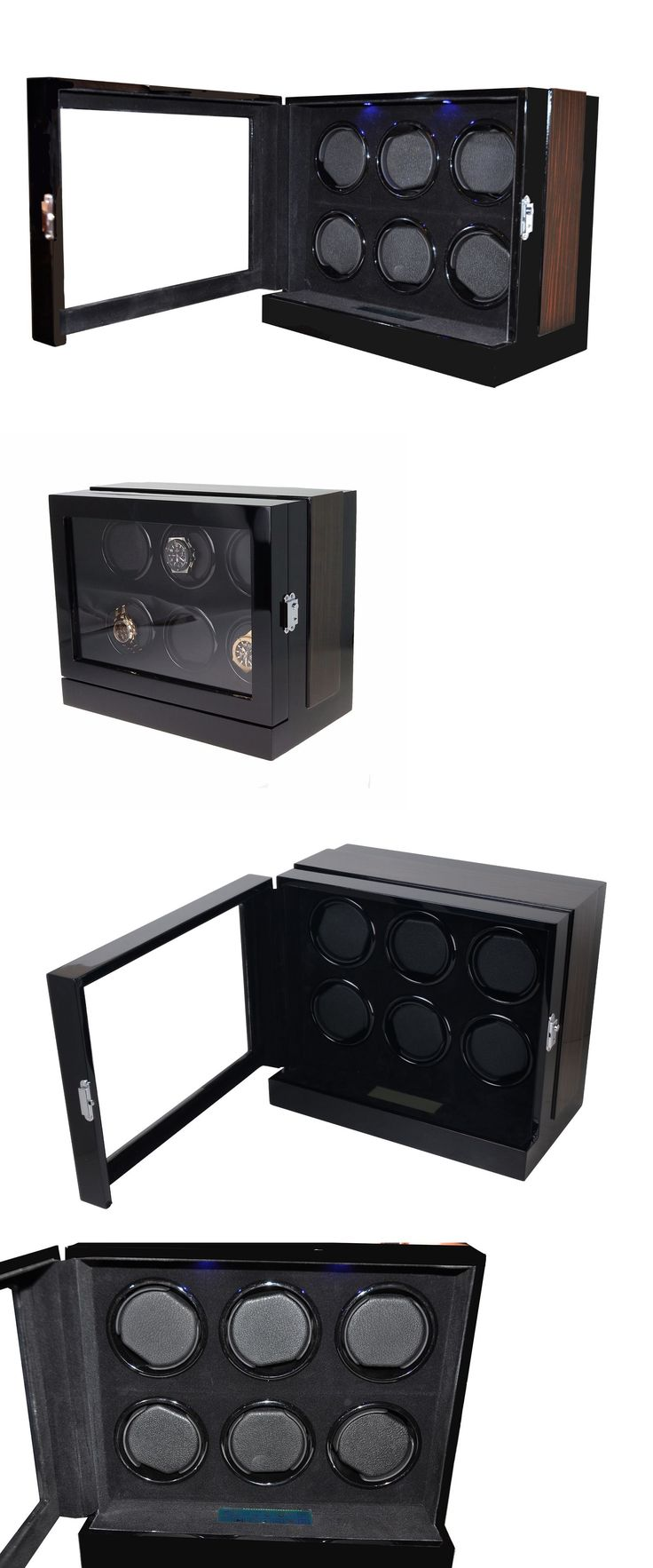 Boxes Cases and Watch Winders 173695: 6 Watch Winder Black Wood Velvet Lcd Touch Digital Led Japan Motor Box 8203M -> BUY IT NOW ONLY: $349 on eBay!