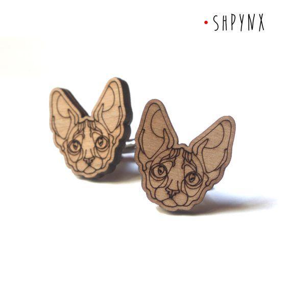 Sphynx Cat Cufflinks wood cuff links sphynx di DARQCREATIONS