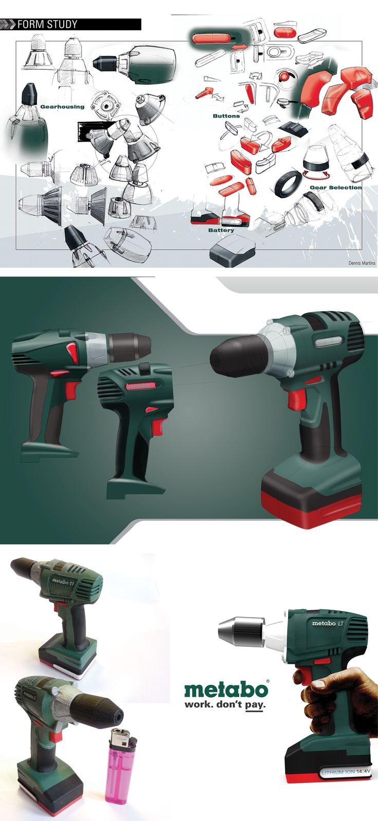 Redesign of a Metabo cordless drill. 2012