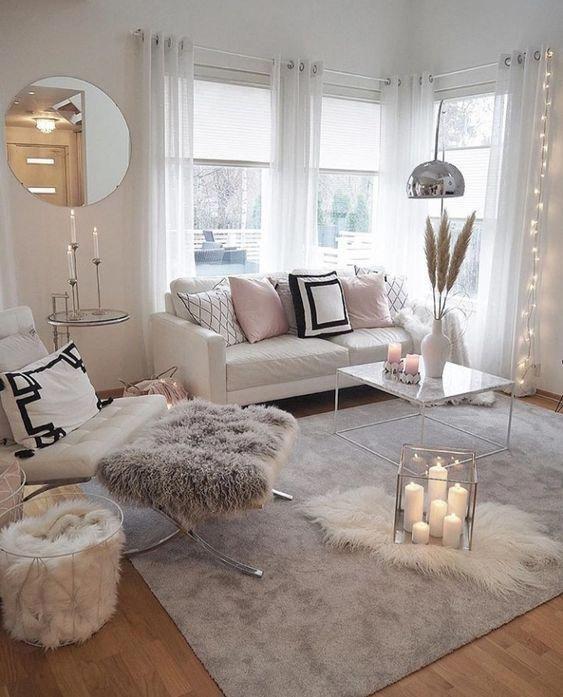 Cozy Pink Home Living Room Decoration Ideas Modern Interior