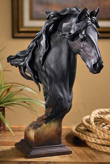 Equus Onyx Friesian horse by Arich Harrison, Mill Creek Studios sculptures & statues, wildlife collection.