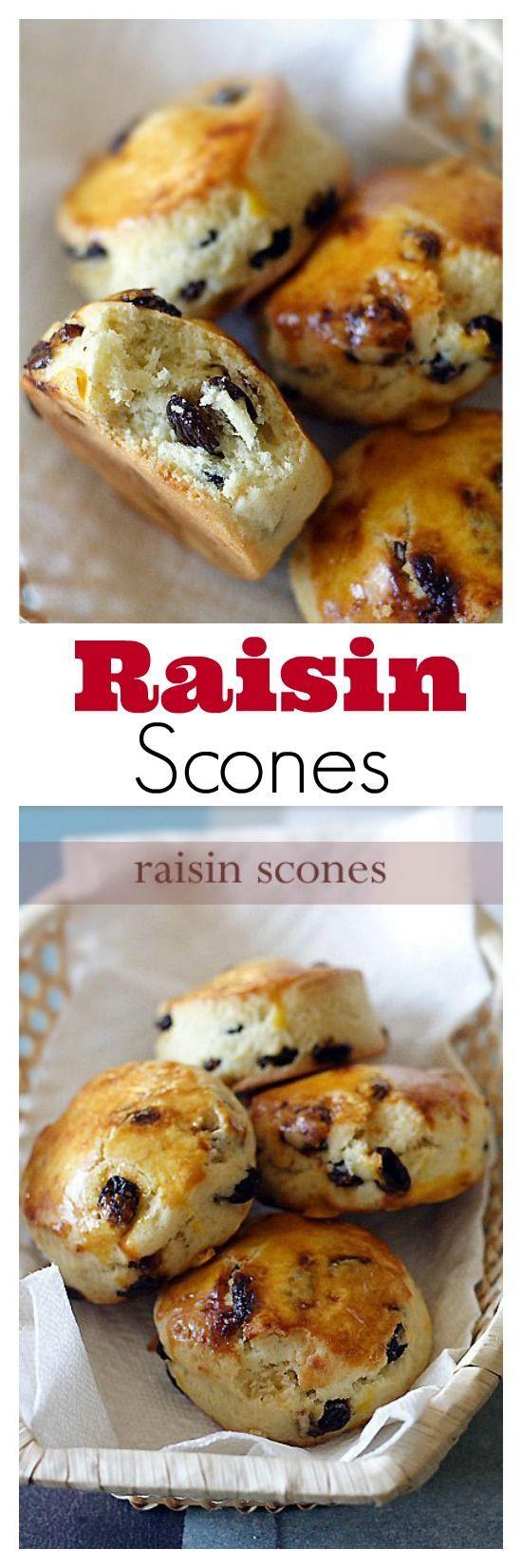 Raisin scones - crumbly, flaky, buttery, and the best raisin scones ever. Try the recipe | rasamalaysia.com