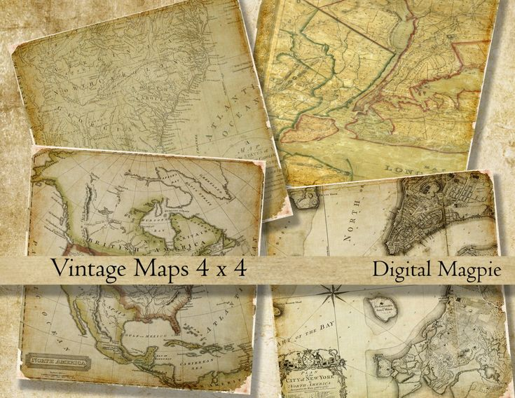 printable coasters digital collage sheet squares Vintage Maps U.S.A 4 x 4 inch coasters craft images instant download New York by DigitalMagpie on Etsy
