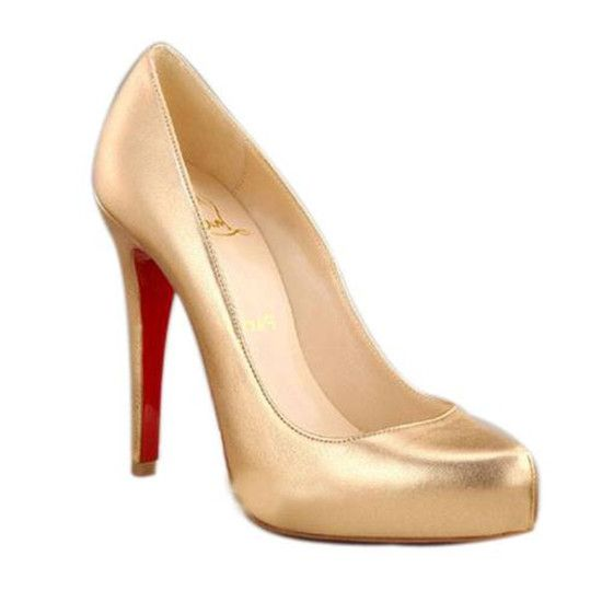 * 120mm Christian Louboutin Rolando Hidden Platform Gold Pumps