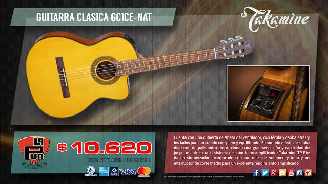 "La Púa San Miguel: GUITARRA CLASICA ""TAKAMINE GUITARS"" GC1CE-NAT"
