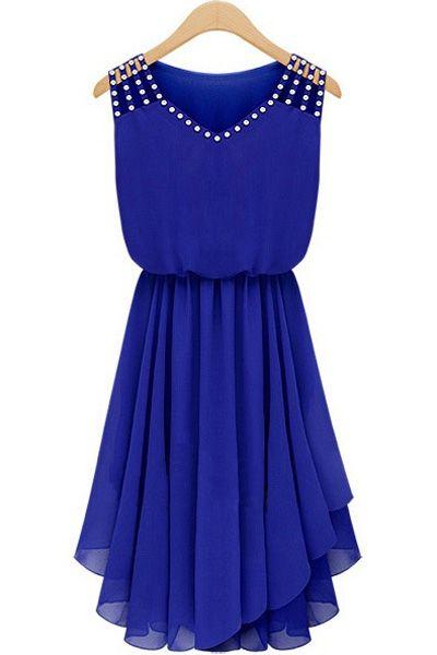 Diamante V Neck Sleeveless Chiffon Dress