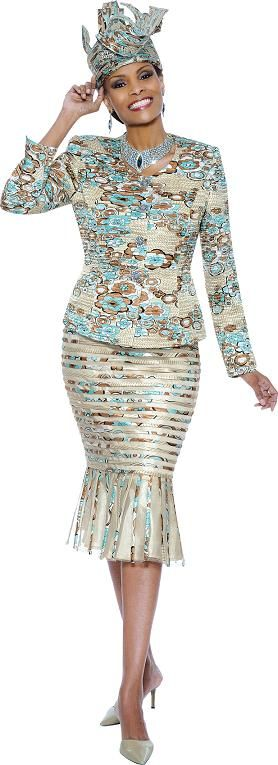 Susanna 3528 Women's Skirt Suit Spring 2014 Champagne Multi Silver Multi Sizes 6-26 $249.00