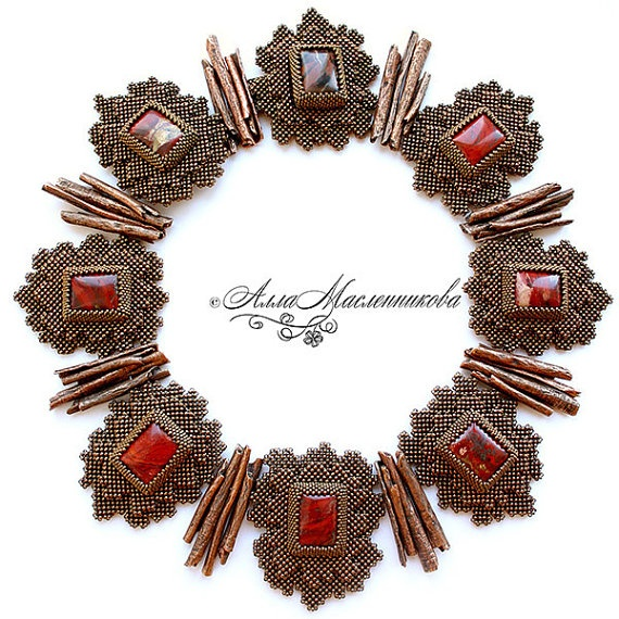 Beaded jewelry by Alla Maslennikova ...there is so much on Etsy I get lost....I love the ability of Pinterest to present artistry to me one piece at a time.....