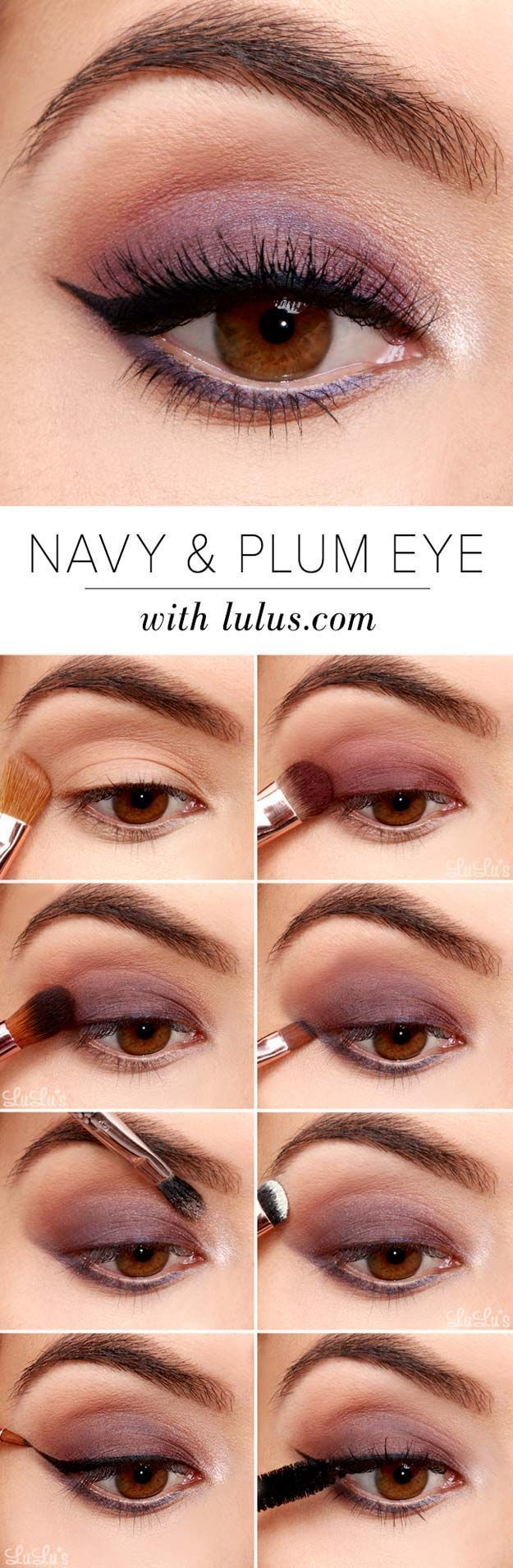 Best Eyeshadow Tutorials - Navy and Plum Smokey Eyeshadow Tutorial - Easy Step by Step How To For Eye Shadow - Cool Makeup Tricks and Eye Makeup Tutorial With Instructions - Quick Ways to Do Smoky Eye, Natural Makeup, Looks for Day and Evening, Brown and Blue Eyes - Cool Ideas for Beginners and Teens http://diyprojectsforteens.com/best-eyeshadow-tutorials #eyeshadowsforbeginners #makeuplooksforteens