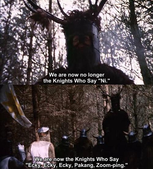 """""""Los Caballeros de Monty Python"""", película que Parzival debe replicar durante una de las puertas de Halliday."""