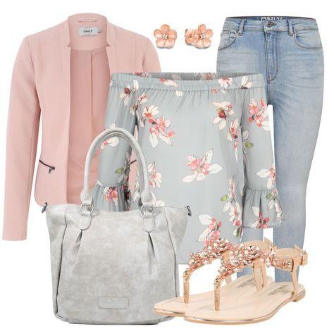Sommerpower bei FrauenOutfits.de Der Sommer rückt immer näher und mit diesem schönen Freizeit Outfit bist du für diese Jahreszeit perfekt gekleidet. Der Blazer ist von Only und wird mit einer modernen Carmenbluse und einer Skinny Jeans kombiniert. #freizeit #blumenmuster #fashionblog #lässig #style #look #frauenoutfits #damen #bekleidung