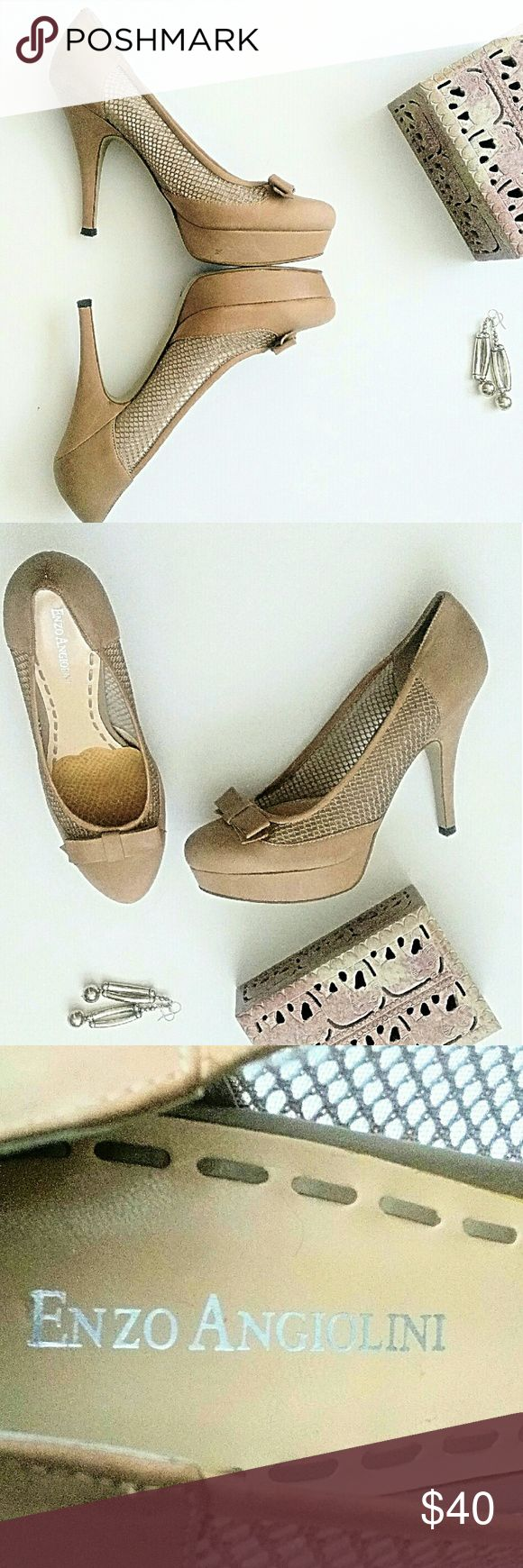 Listing! Enzo Angiolini Leather Bow Beige Pump 100% leather uppers with textile mesh inserts adorning both sides of shoes. Chic bow on almond-toe shoe fronts. Heels approx. 4.5in. w/comfortable 1in platforms to making walking easy. Height without the pain!  EUC, worn once in a wedding.  Every woman needs this kind of full on neutral pump.**Ask questions B4 U buy!** Enzo Angiolini Shoes Heels