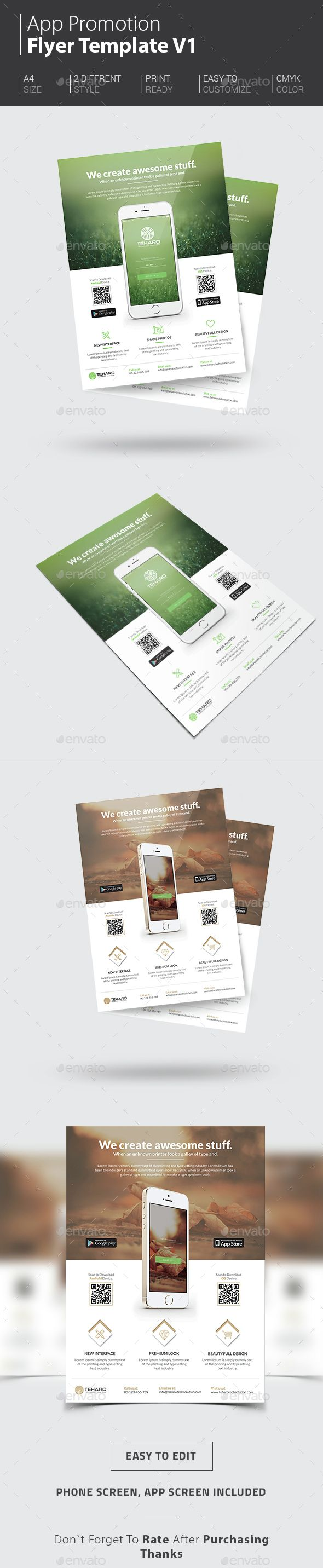 App Promotion Flyer - Commerce Flyers | Instant Download http://graphicriver.net/item/app-promotion-flyer/14512352?ref=themedevisers