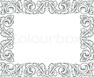 retro branch engrawing border