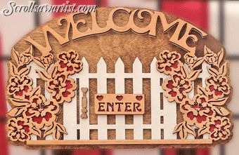 Scroll Saw Patterns :: Plaques :: Welcome plaques :: Picket gate welcome -