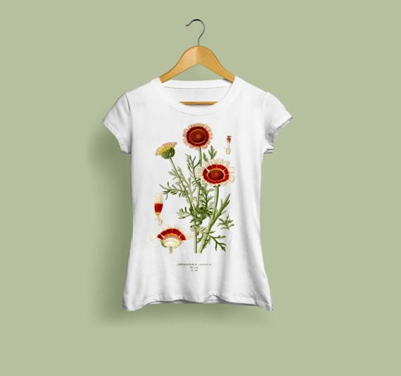 Chrysanthemum Carinatum Ladies T-Shirt.  In the Victorian language of flowers, the Chrysanthemum had several meanings. The Chinese Chrysanthemum meant cheerfulness, whereas the red Chrysanthemum stood for I Love, while the yellow Chrysanthemum symbolized slighted love.  This beautiful vintage style botanical illustration tshirt will make the perfect gift for any fan of botany, gardening, or vintage style. Our lovely tee shirts are super soft to the touch, and are 100% pre-shrunk jersey…
