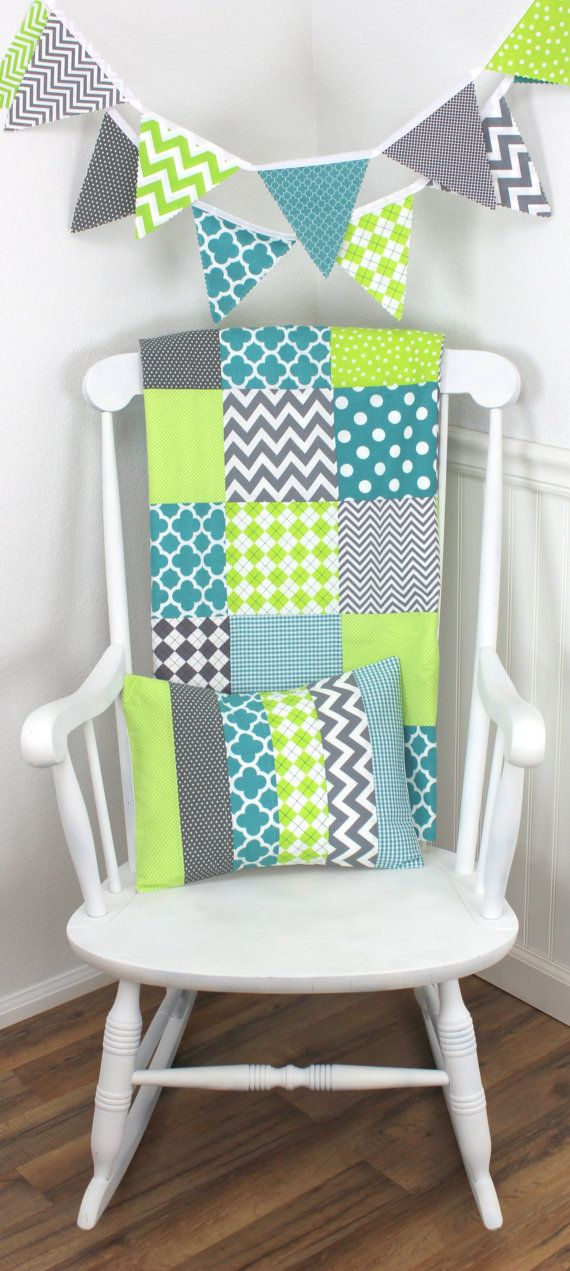 Baby Boy Blanket, Nursery Decor, Minky Blanket, Crib Blanket, Chevron Nursery, Teal Blue, Lime Green, Gray, Grey, Chevron, Argyle, Dots