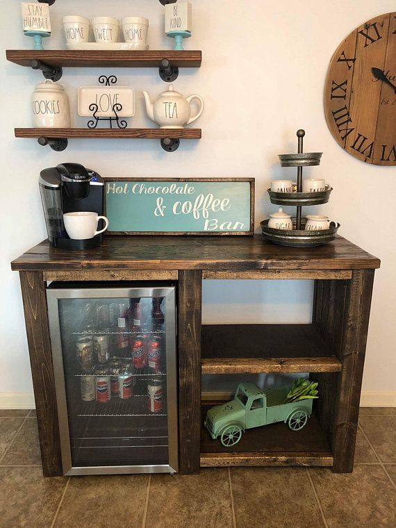 Coffee Bar With Opening For A Mini Fridge Rustic Open Shelves Farmhouse Style Coffee Bar Cabinet Estaciones De Cafe En Casa Cafe Bar En Casa Bares En El Hogar