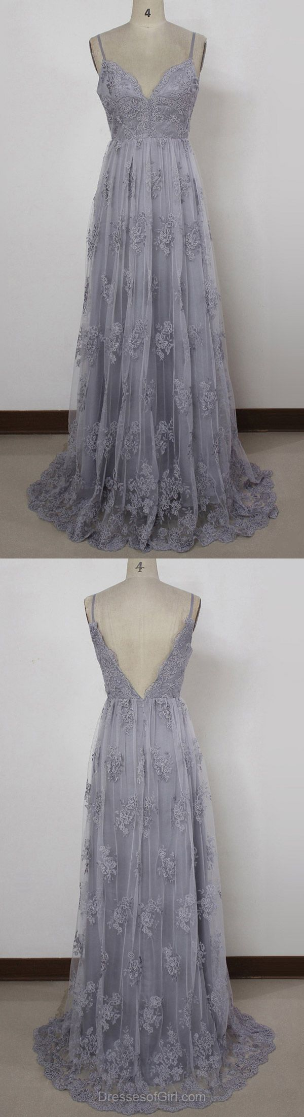 A-line V-neck Tulle Sweep Train with Appliques Lace Prom Dresses